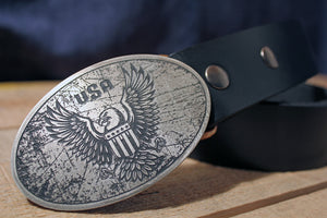 American Bald Eagle Belt Buckle -USA RUSTIC-