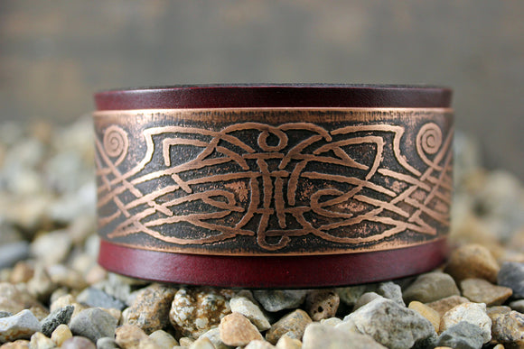 Celtic Pattern IRISH Solid Copper CUFF Bracelet
