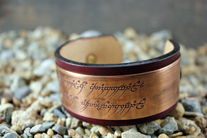 Sauron's ONE RING -The Ring of Power Inscription- Solid Copper LOTR CUFF Bracelet