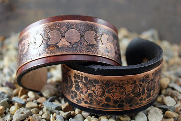 Lunar Moon Phase Solid Copper GODDESS CUFF Bracelet