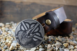 """Rochester Logo w/ Crow"" Belt Buckle - by Madeline Brown"