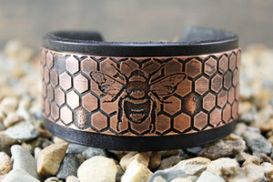 Honey Bee Solid Copper CUFF Bracelet