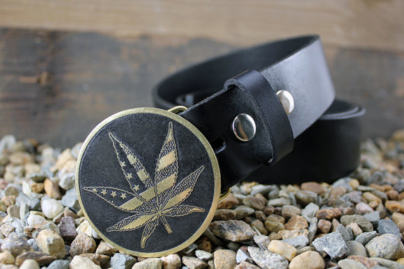 American Pot Leaf - Marijuana Belt Buckle