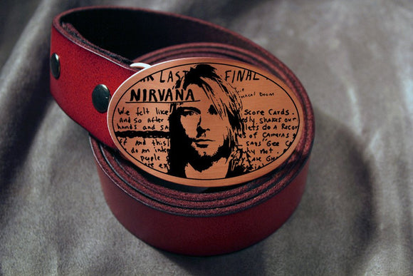 Kurt Cobain NIRVANA Belt Buckle-Metal Some Art