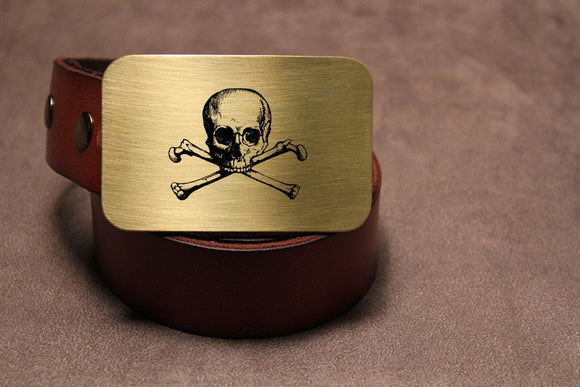 Skull and Bones Belt Buckle-Metal Some Art