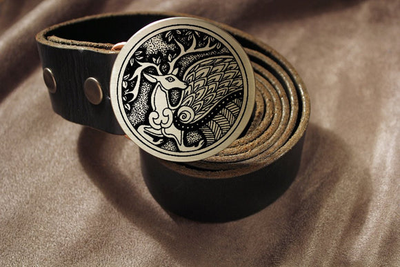 Celtic Stag PERYTON Belt Buckle-Metal Some Art