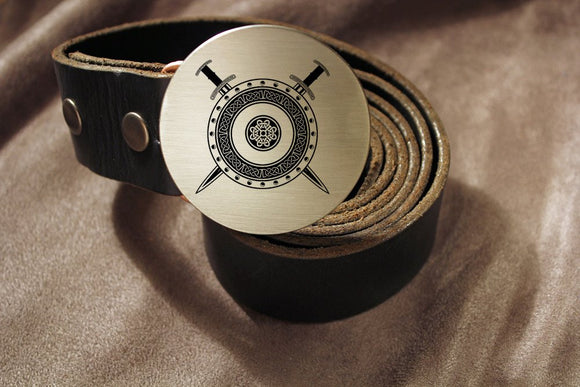 Viking Shield & Sword Belt Buckle-Metal Some Art