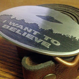 "X Files UFO- ""I Want to Believe"" Belt Buckle-Metal Some Art"