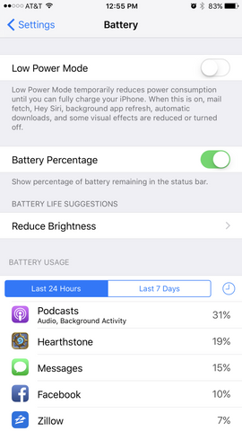 iPhone 7 Battery PAge