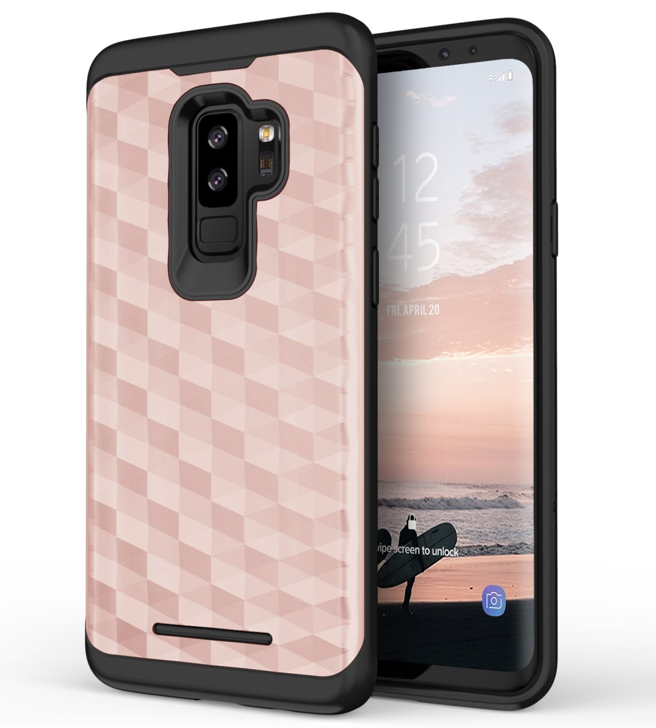 Shockproof, Trendy, and Exclusive. These three words define the CLICK [Prism Series]. This AppleSamsung Galaxy S9 Plus case is the perfect way to give your phone the heavy duty protection it needs without adding the heavy-duty bulk. This product features a dual-layer case that is engineered to absorb the shock from all your drops while still exuding that trendy vibe. The [Prism Series] protective case implements [Impact Dispersion Technology] in a soft [Shock Absorbing] Tetra Polyurethane inside and an [Impact Resistant] Poly carbonateShell outside. A slim sleek design allows for the best user experience while still protecting your phone. This case is compatible with the Apple Samsung Galaxy S9 Plus. Our goal is simple: to provide the best value in products available. This Dual Layered Hybrid Cover is designed to protect yourSamsung Galaxy S9 Plus phone. The outer layer for the Prism Series cover is made with a tested Impact Resistant Polycarbonate layer and a Tetra Polyurethane inner