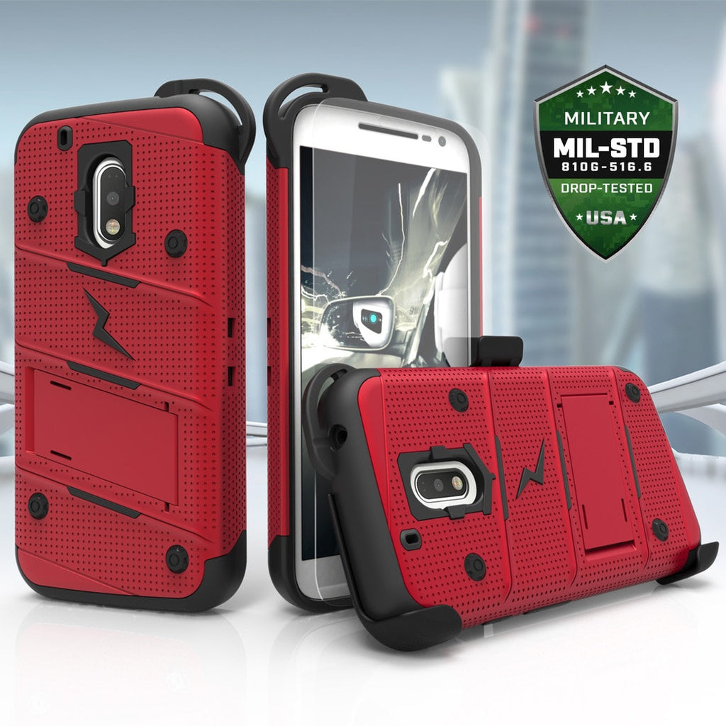 moto g4 case. zizoŽ bolt cover for motorola g4 plus and moto - military grade with glass screen case a