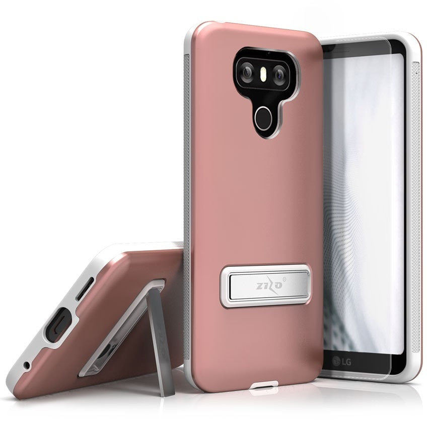 Zizo Elite Series Case for LG G6 Slim Fit Case + Magnetic Kickstand + Tempered Glass