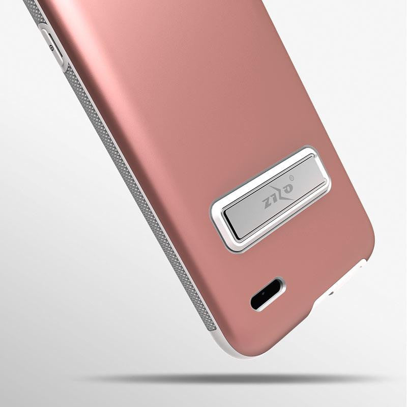 lg x charge phone case. zizo elite series case for lg x charge slim fit + magnetic kickstand tempered glass - power 2 lv7 lg phone