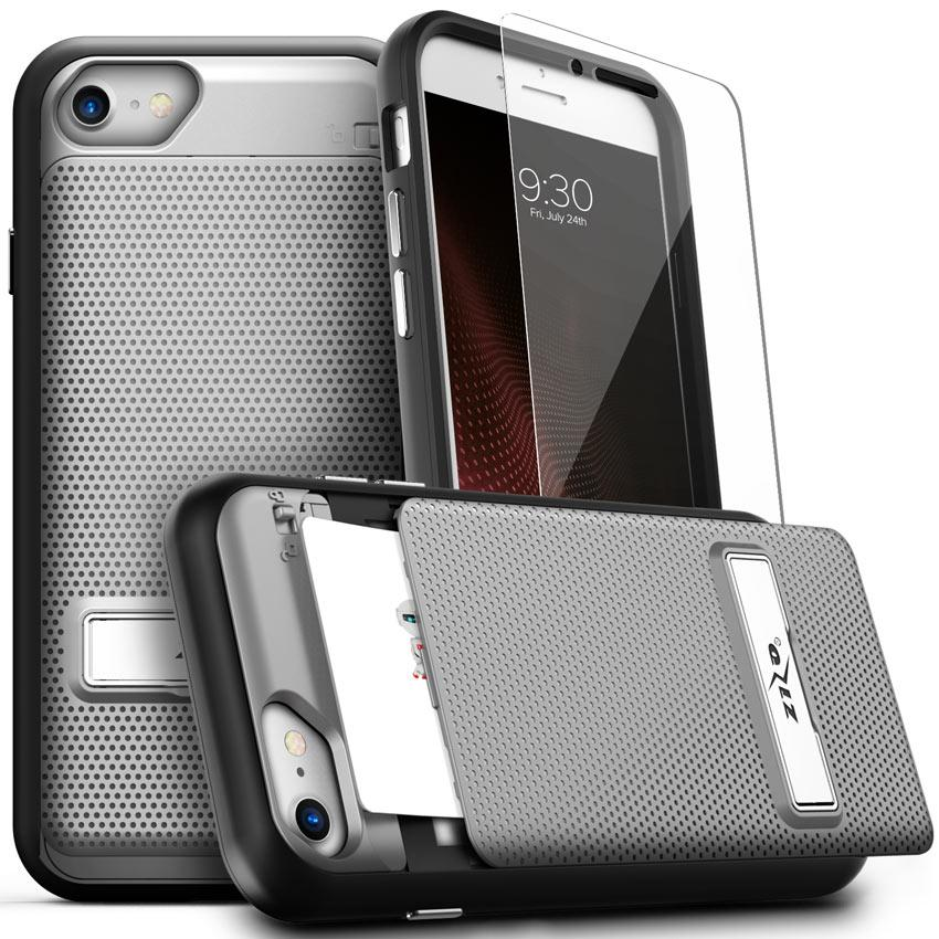 Slim, Secure, Protected.  Dual-Layered with Dual-Protection. Keep your phone and credit cards safe with the Phase Series by CLICK CASE. This shockproofiPhone 8 / 7 case offers two layers of protection for your phone. With a hidden and locked compartment, thisiPhone 8 / 7wallet case keeps your most sensitive information secure. The secret wallet compartment can hold up to two credit cards. Unlike the bulk of other wallet folio cases, you'll hardly know its there! Keep it slim and sleek - the Phase Series offers a slimfit for youriPhone 8 / 7 while still protecting your phone. We even included a built-in kickstand to watch your favorite shows and movies on the go. We know how important your phone's protection is to you, so we also included a [Lightning Shield]iPhone 8 / 7screen protector FREE with every purchase. Buy your case for the looks? Don't worry - we've got you covered! The Phase Series comes in our rich and trendy colors. Protective, secure, and modern - the Phase Series gives