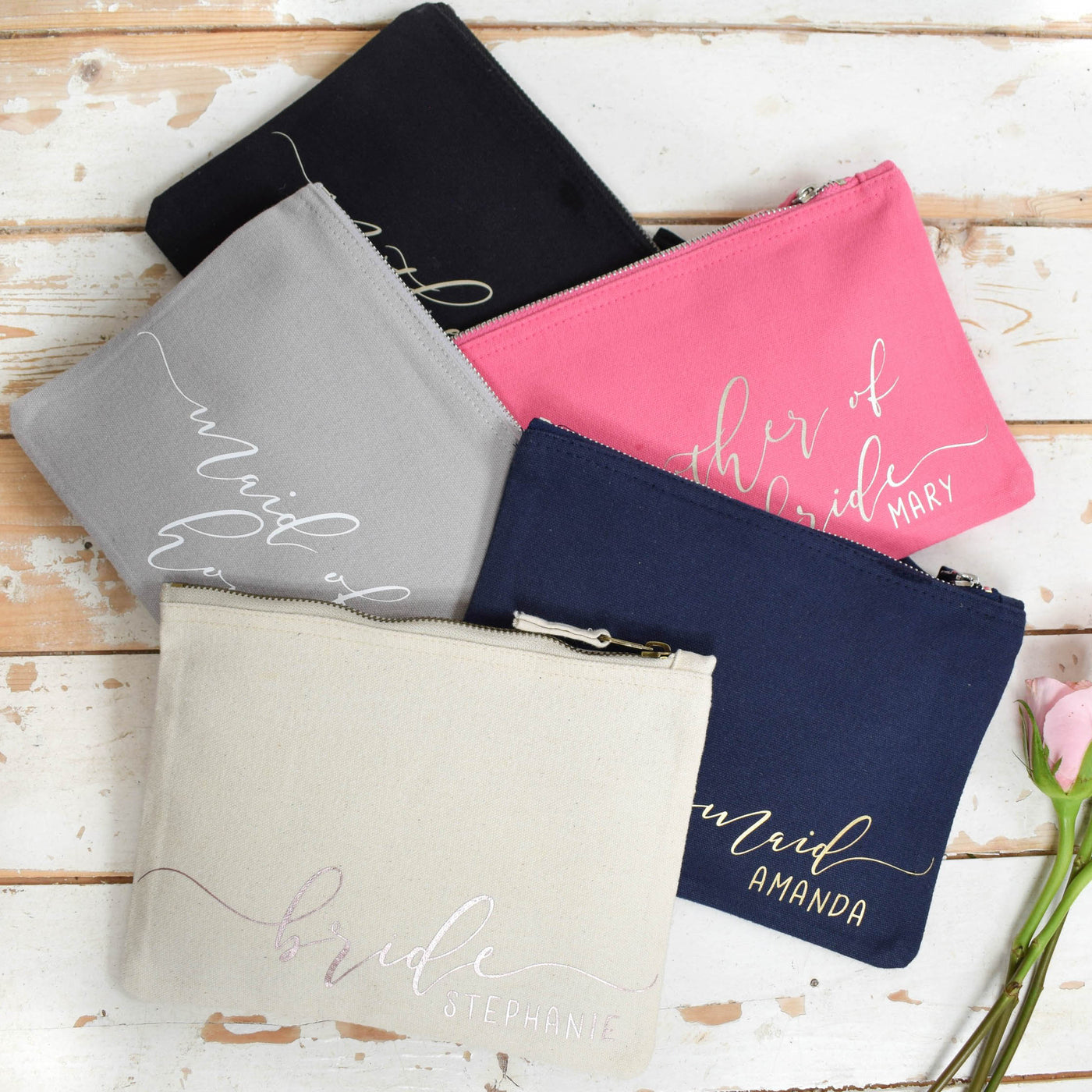Personalised Bridal Party Make Up Bags