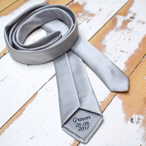 Personalised Wedding Slim Tie