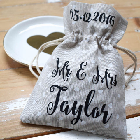 Personalised Wedding Favour Bag - Mini Hearts
