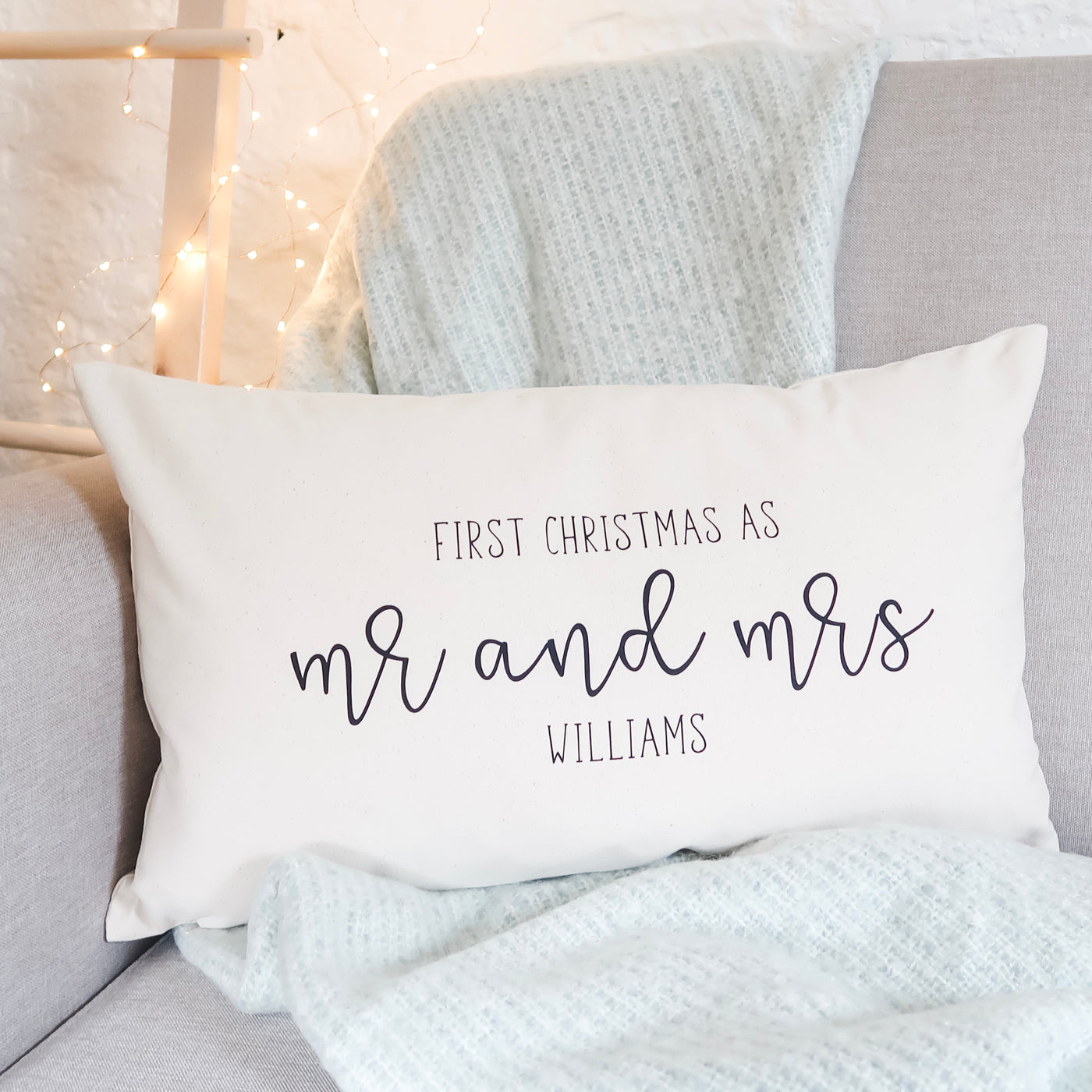 Mr and Mrs First Christmas Cushion