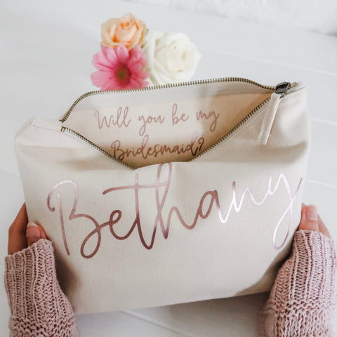 Will you be my...? Hidden Question Make Up Bag