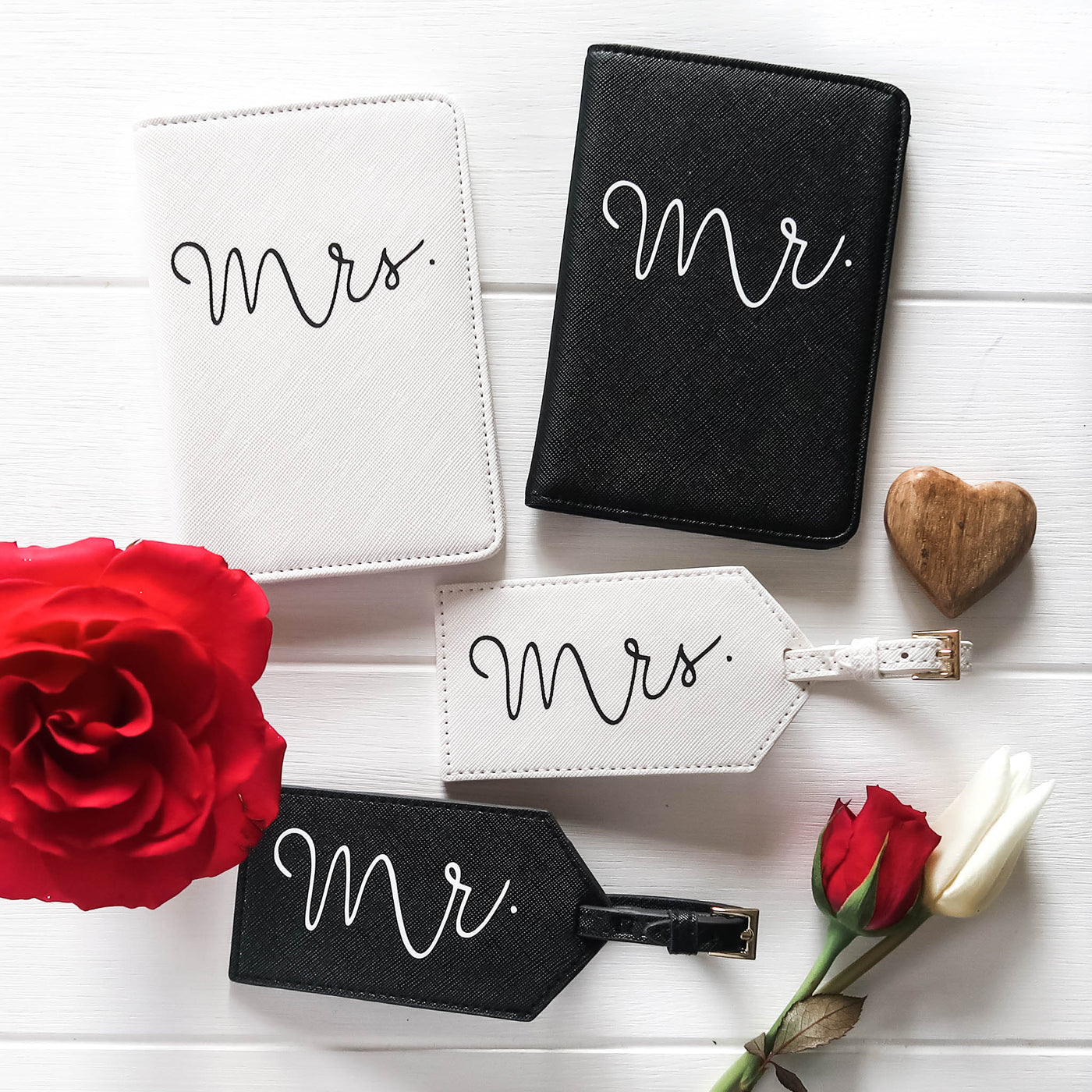 Mr and Mrs Travel Set - Passport Covers and Luggage Tags