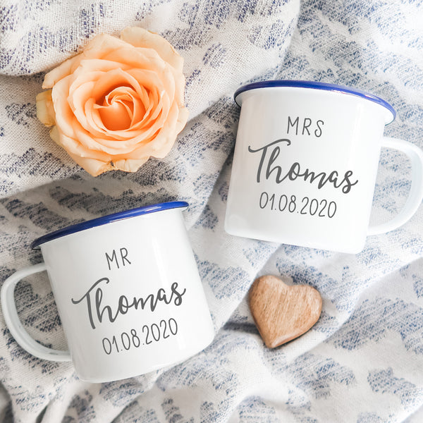 Set of Personalised Mr and Mrs Mugs
