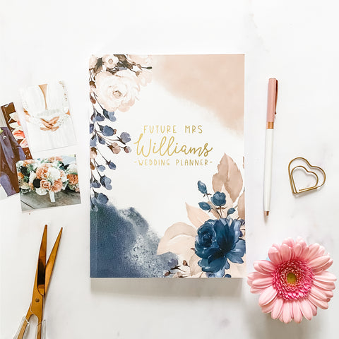 Navy Rose Personalised Wedding Planner Book