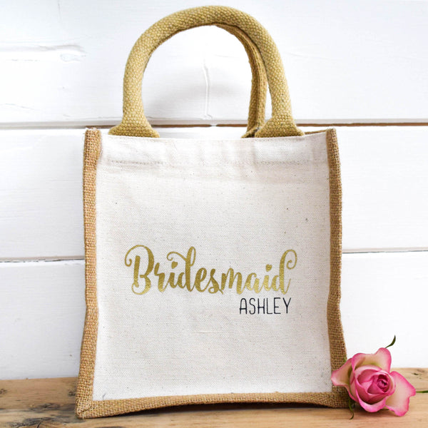 Personalised Mini Jute Bag