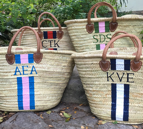 X-Large Monogrammed Straw Beach Tote / French Market Basket