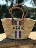 Personalized French Market Basket | Straw Beach Tote in medium by Lively Design Studio