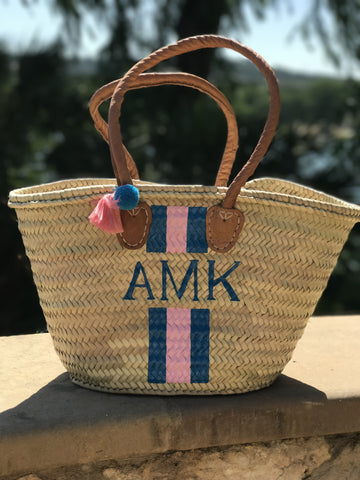 Medium Monogrammed Straw Beach Tote / French Market Basket