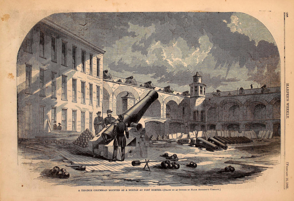 1861 Ten Inch Columbiard Mounted As A Morter At Fort Sumter Harper's Weekly Print DD