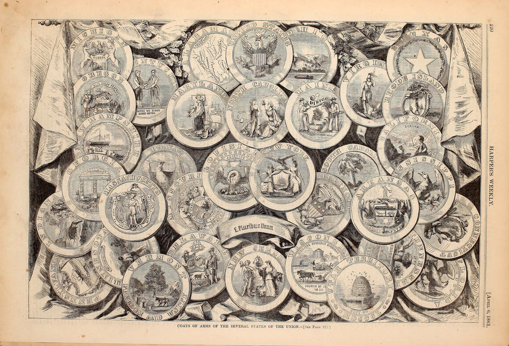 1861 Coats Of Arms From The States Of The Union Harper's Weekly Print DD