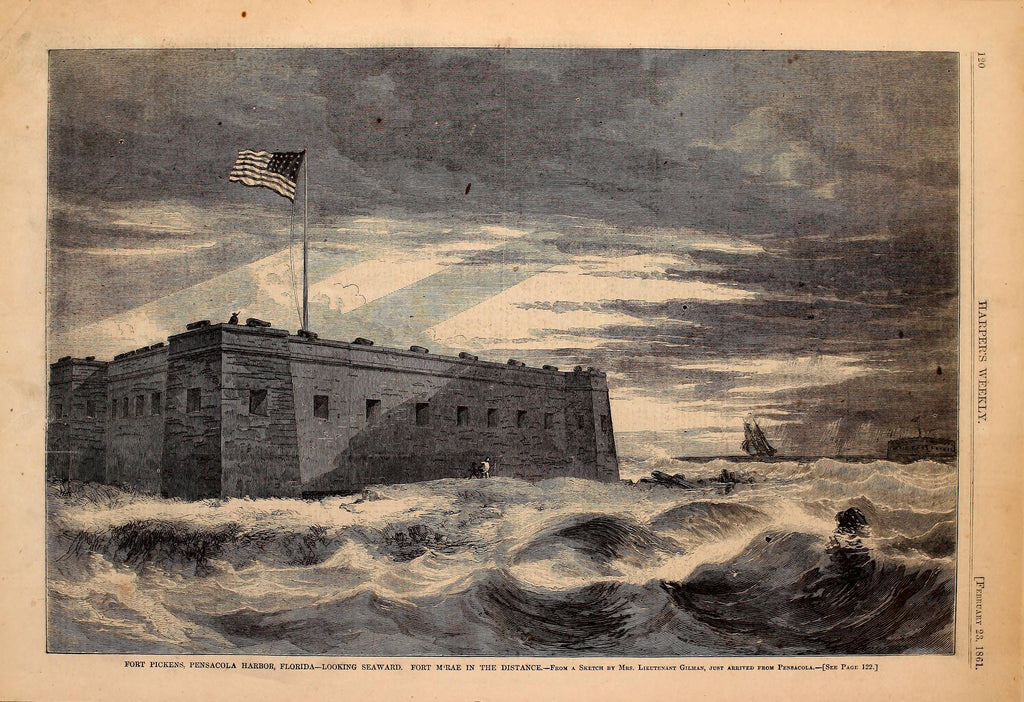 1861 Fort Pickens Pensacola Harbor Florida Looking Seaward Harper's Weekly Print DD