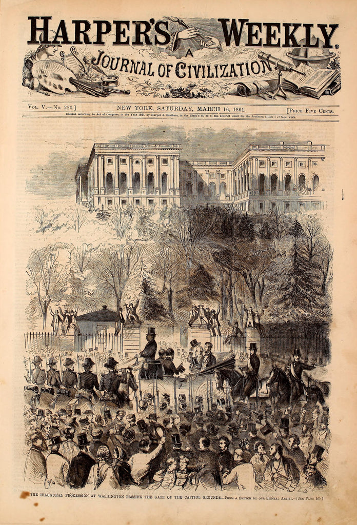 1861 Inaugural Procession Passing Capitol Grounds Civil War Cover Harper's Weekly Print DD