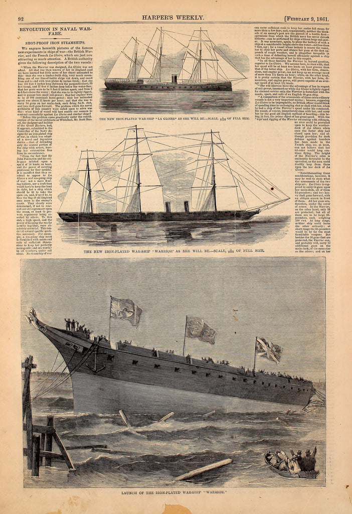 1861 New Iron Plated Warship Warrior Harper's Weekly Print DD