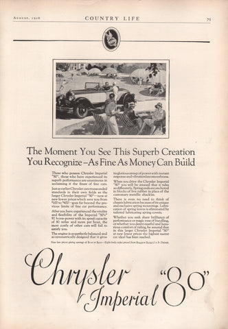 1926 Chrysler Imperial 80 Automobile Ad Digital Download