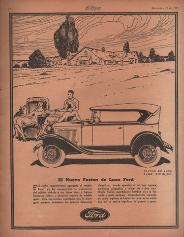 1930 De Luxe Ford El Nuevo Phaeton Spanish Automobile Ad Digital Download