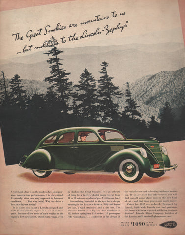 1937 Ford Lincoln Zephyr Automobile Ad Digital Download