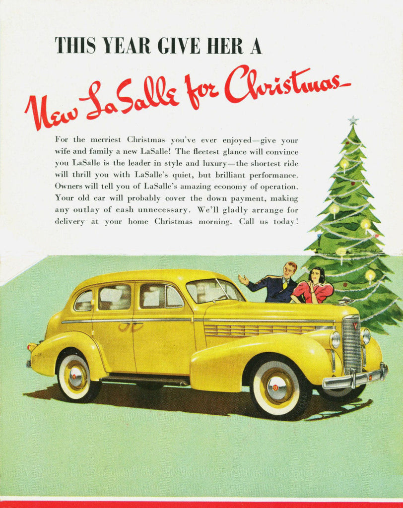 1938 Yellow La Salle For Christmas Automobile Ad DD
