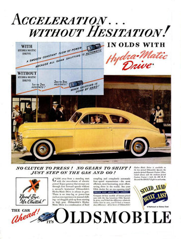 1941 Yellow Oldsmobile Hydra-matic Drive Automobile Ad DD
