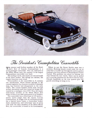 1950 Lincoln Cosmopolitan Convertible Automobile Ad DD