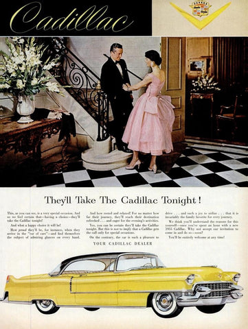 1955 Yellow Cadillac Automobile Ad DD