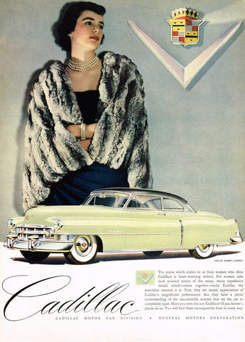 1950 White Cadillac Luxurious Fur Automobile Ad DD