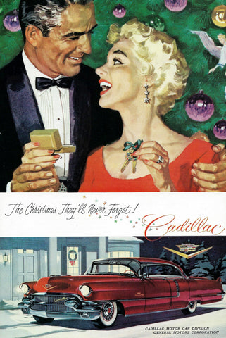 1950 Red Cadillac Christmas Memories Automobile Ad DD