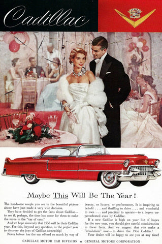 1955 Red Cadillac Maybe This Year Automobile Ad DD