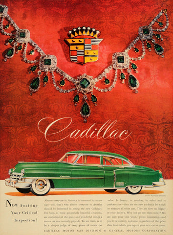 1953 Green Cadillac Crest & Jewels Automobile Ad DD