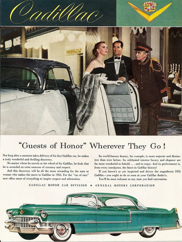 1955 Aqua Blue Cadillac Guest Of Honor Automobile Ad DD