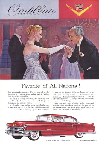 1955 Red Cadillac Automobile Ad DD