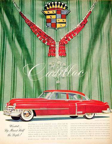 1950 Green Cadillac Automobile Ad  DD