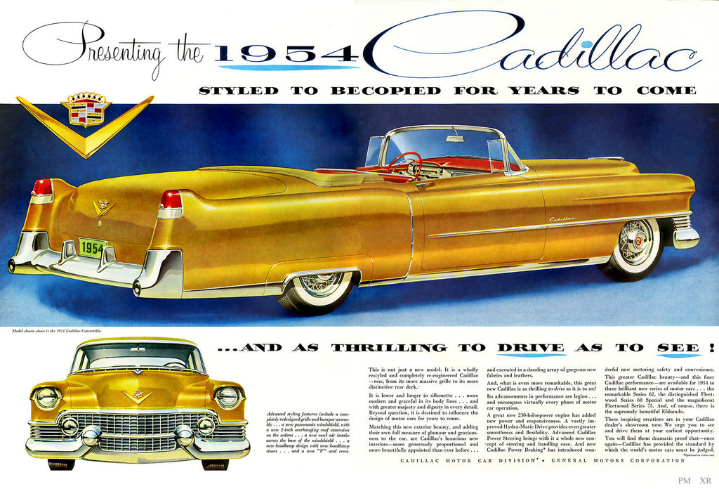 1954 Golden Cadillac Convertible Automobile Ad